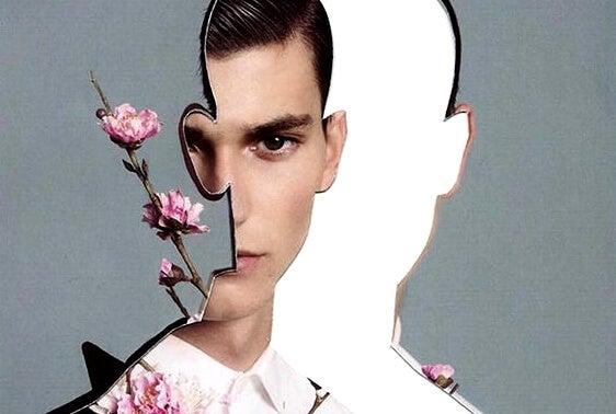 chico asomándose a un perfil entrecortado con flores representando el silencio dosificado