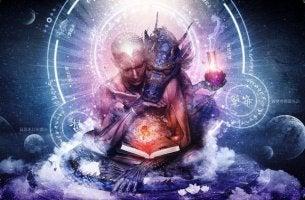 figura espiritual con dragón apoyado en el hombro