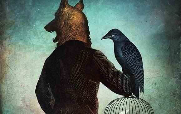 hombre con cabeza de lobo sujetando un cuervo y representando la personalidad pasivo-agresiva