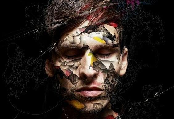 Hombre con texturas en la cara representando trastornos mentales