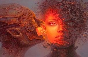 hombre de piedra besando a mujer intentando despertar el amor dormido