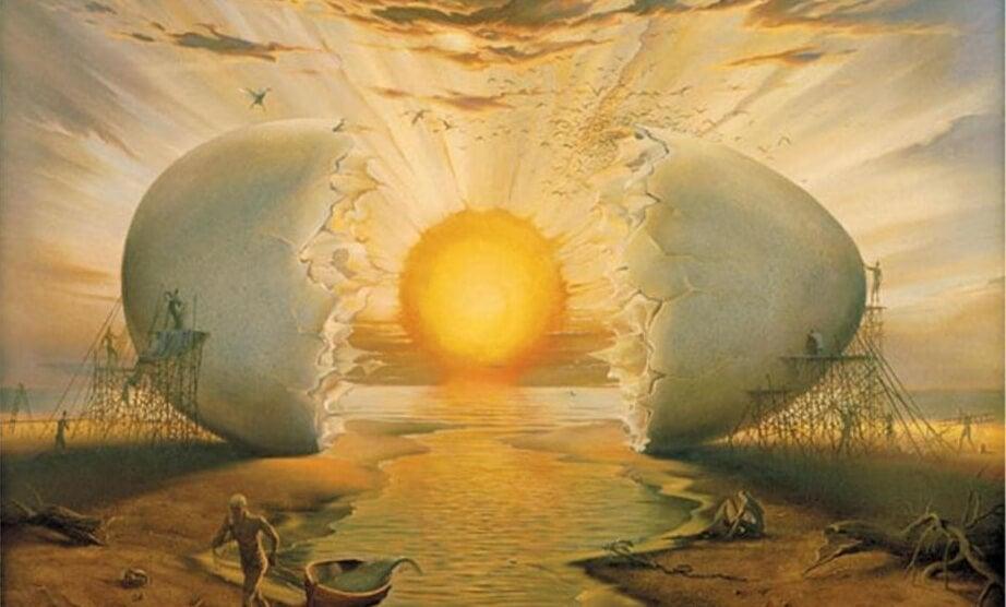 huevo abierto simulando amanecer