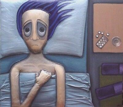Hombre con ansiedad nocturna