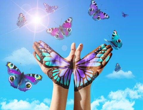 mariposa sobre manos