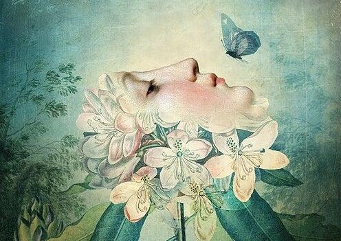 mariposa sobre rostro femenino