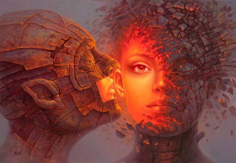 Mujer besada por un hombre