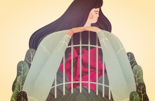 mujer con el corazón en una jaula sufriendo los efectos del facilismo