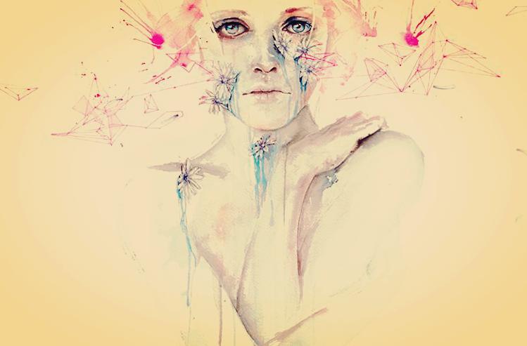 mujer con figuras geométricas triste porque ha dejado de insistir en el amor