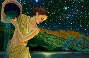 Mujer en la noche con jarra pesando en volver a sus raíces
