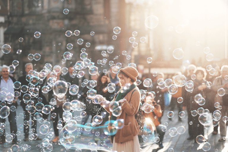 woman popping bubbles