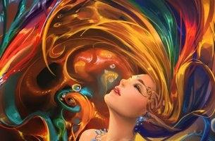 Mujer envuelta en colores