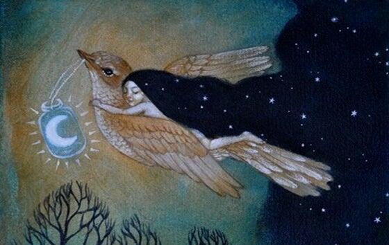 mujer subida a un pájaro que se escapa del tiempo