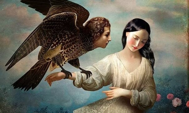mujer sujetando un águila con cabeza humana que representa la personalidad pasivo-agresivo