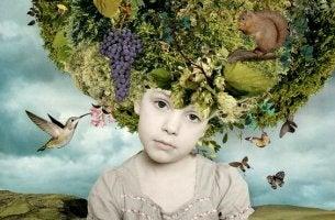 niño malcriado con flores en la cabeza