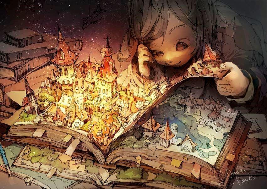 Niño leyendo un libro con la historia de relieve