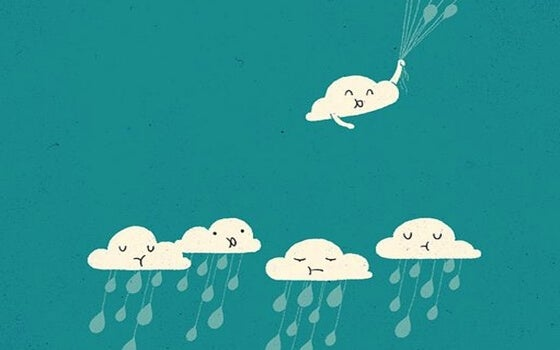 nube sonriente que se escapa por su buena actitud