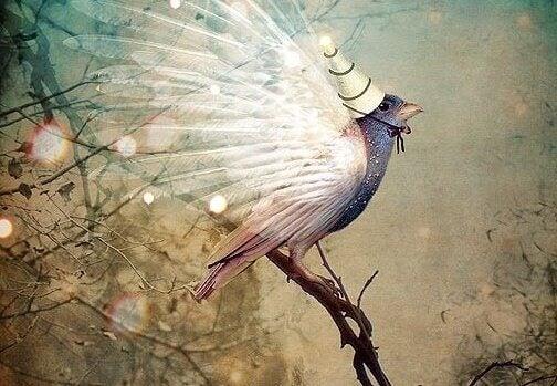 Pájaro con cono en la cabeza