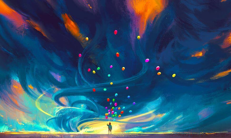 person with colorful balloons