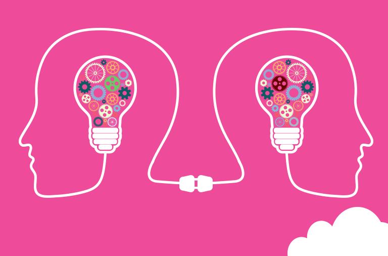 rostros comunicados por bombilla simbolizando el aprendizaje social