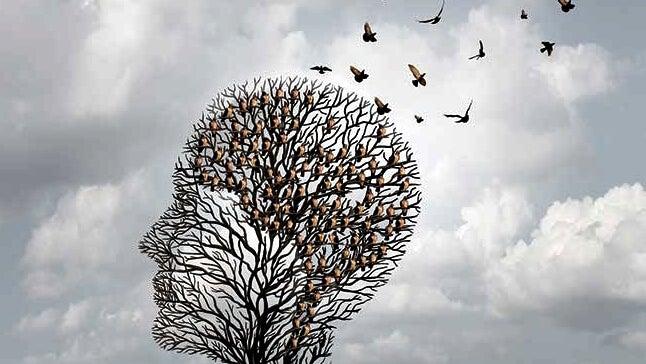 árbol con forma de cabeza del que escapan pájaros