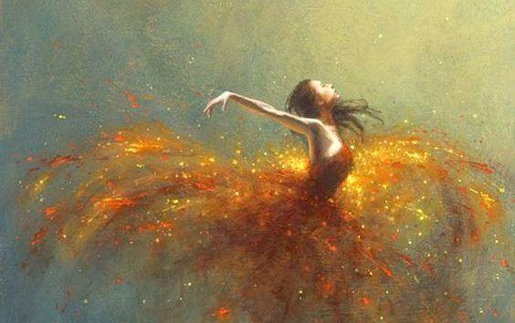 Bailarina con luces alrededor disfrutando de la vida y pensando en cómo atraer la magia