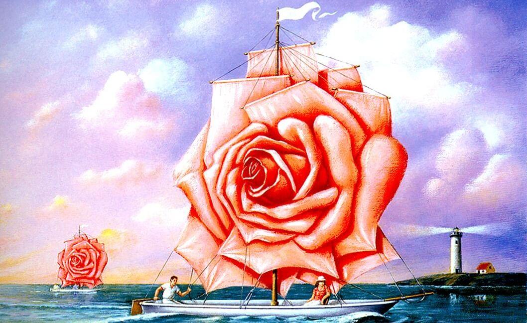 barco con velas en forma de rosa