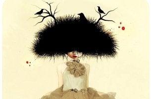 chica con nido de pájaros en la cabeza