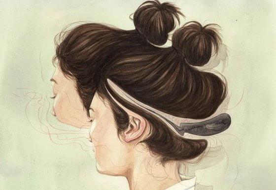 Chica de espaldas con la cabeza abierta