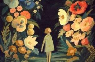 chica paseando por jardín de flores representando a las personas optimistas