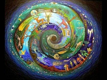 espiral con figuras en el interior