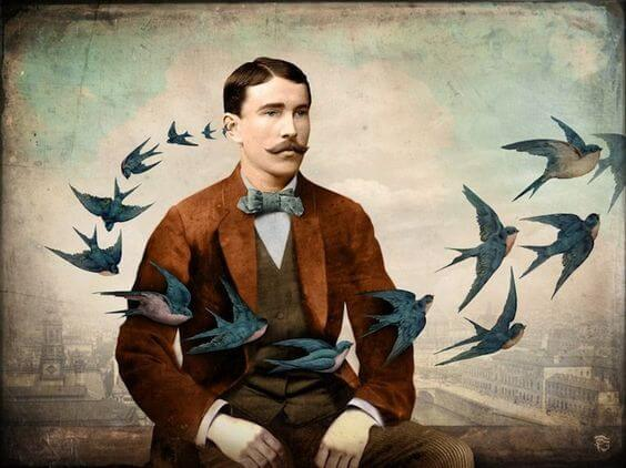 hombre con pájaros alrededor