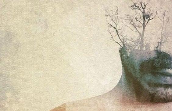 hombre doble exposición con árbol