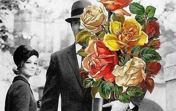 hombre llevando flores