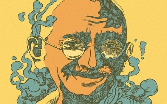 Ilustración representando las frases de Gandhi más importantes