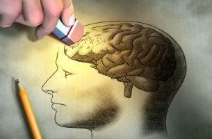 Lápiz borrando dibujo del cerebro de una persona