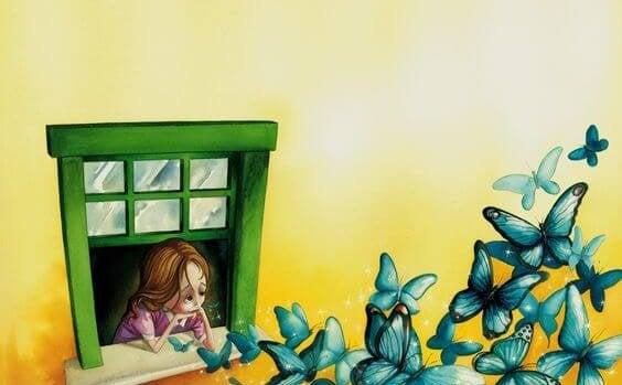 mariposas verdes saliendo de una ventana donde hay una chica triste