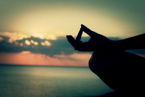 Mano de una persona en posición de meditación