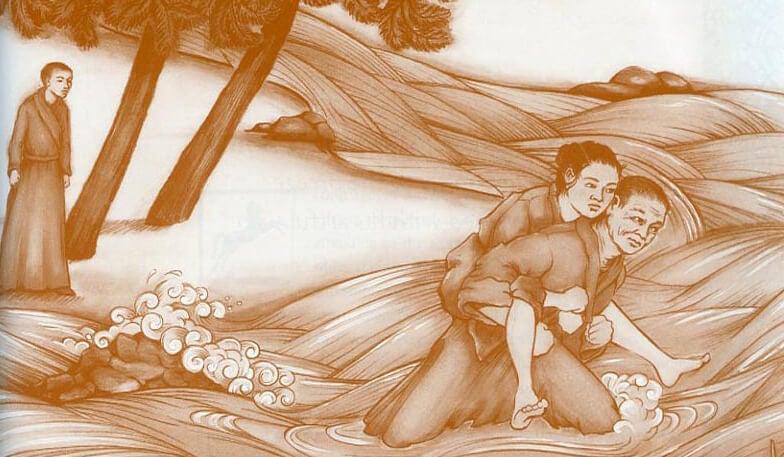 monje que lleva a cuestas a una mujer