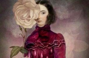 mujer con flor en el rostro sintiendo celos positivos