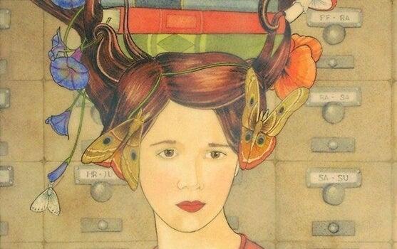 mujer con mariposa en la cabeza