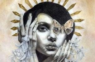 mujer con mariposa en los ojos sufriendo el impacto de las fobias