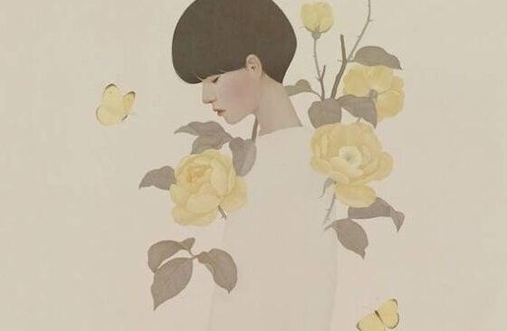 mujer en soledad rodeada de flores amarillas