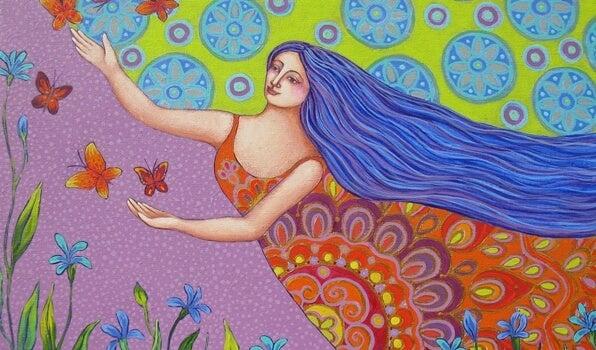 mujer siguiendo mariposas de la abundancia