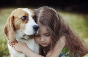 Niña abrazando a uno de sus perros