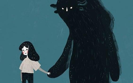 girl holding monster's hand in fear