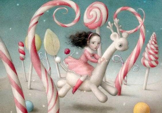 niña corriendo en escenario de caramelos