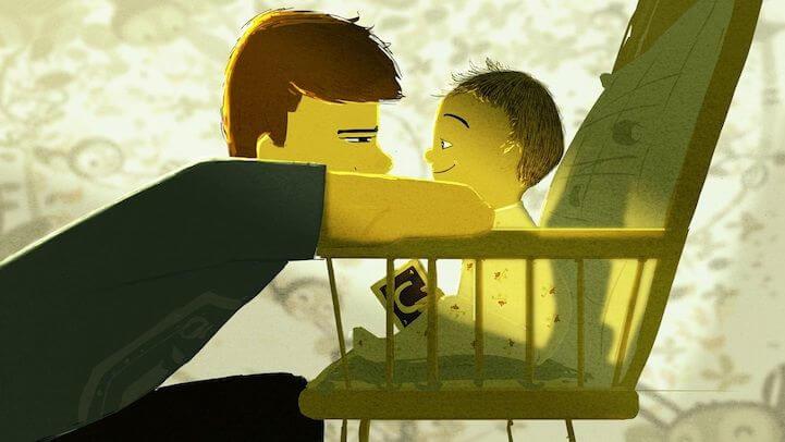 Padre mirando a su hijo a los ojos