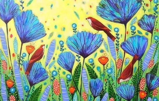 pájaros en flores azules