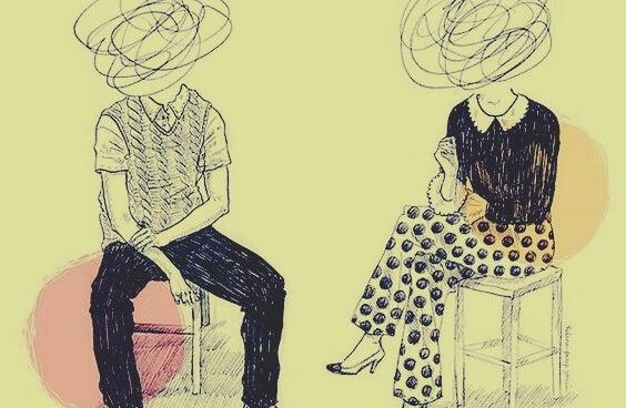 pareja con garabatos en la cabeza representando los errores