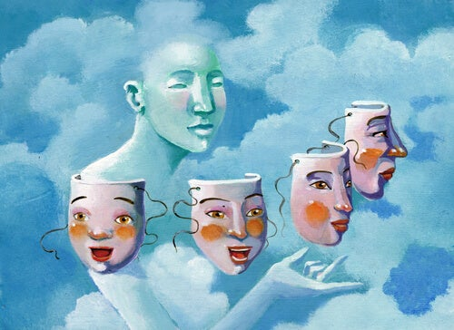 figura con máscaras simbolizando la normopatía